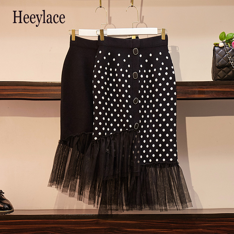 Plus Size 2019 Autumn Winter Woman Casual Skirt Lace Splice Button Elastic Waist Fashion Skirt Dot Skirts A-Line Mid-Calf Skirt