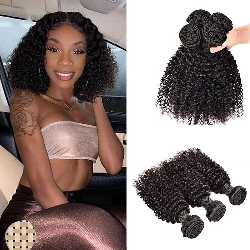M&H Afro Kinky Curly Hair Bundles 100% Remy Human Hair Extension Indian Hair Bundles Natural Color 100g/bundles Flowerseason