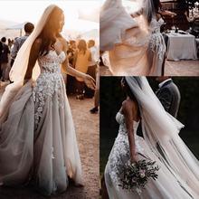 Элегантное милое кружевное свадебное платье трапециевидной формы