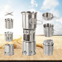 Outdoor Camping Stainless Steel Stove Set Wood Burner Cooking Stove Cross Stand Pot Portable Camping Cookware Set Lightweight