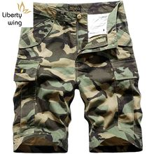 New Summer Mens Cotton Cargo Camouflage Pockets Beach Short Pants Loose Casual Trousers Male Knee Length Shorts Homme(China)