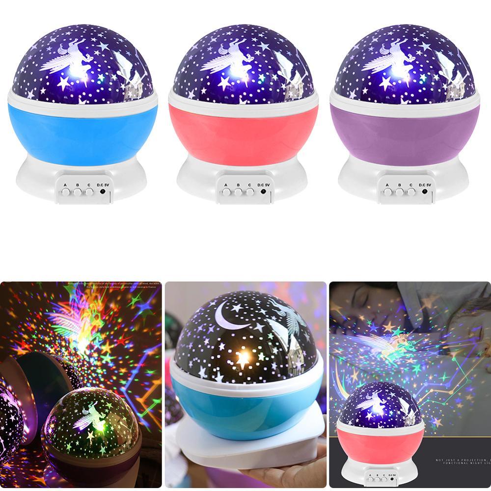 Stars Starry Sky LED Light Projector Moon Lamp Battery USB Kids Children Bedroom Projection Night Lamp Bedroom Decor Night Light