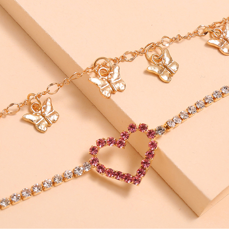 2Pcs/Set Fashion Women Anklets Set Star Tassel Pink Heart Pendant Crystal Chain Gold Anklet Classic Beach Party Barefoot Jewelry