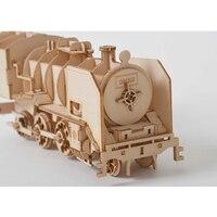 3D Puzzle En Bois pour enfant DIY Modèle De Vapeur Locomotive Bureau Artisanat Kits 6