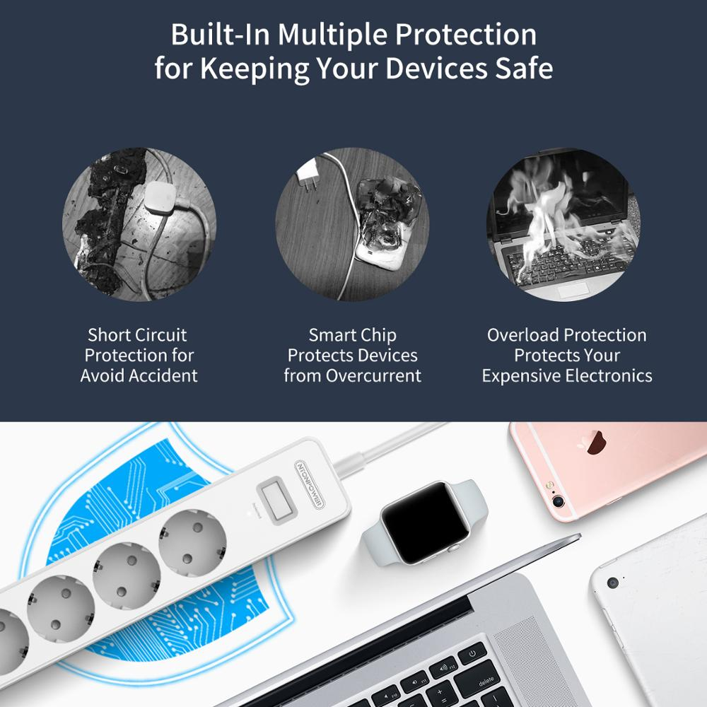 lowest price NTONPOWER Smart USB Power Strip EU Plug 4 Outlet 4 Port USB Charger - 1 5M Cable Electronic Socket Home Office Surge Protector