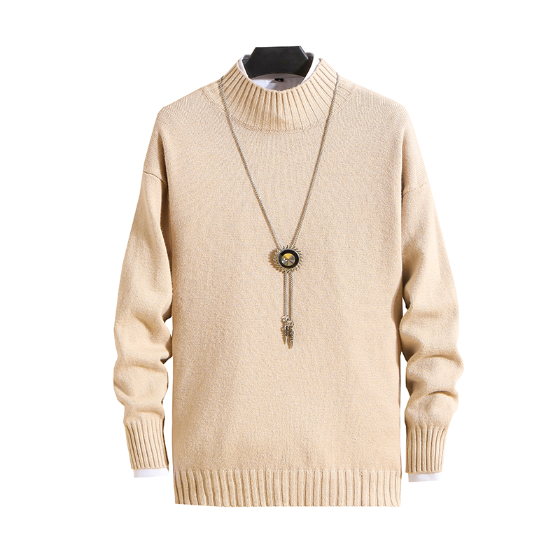2020 Fashion Brand Men's Sweater Casual Half-high Collar Slim Cotton Knit High-quality Men's Sweater Solid Color Pullover Men's