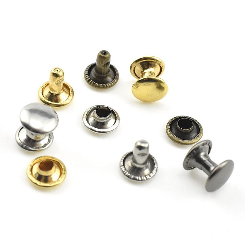 1000sets 6mm Metal Double Cap Rivets Studs Round Rapid Rivet For Leather Craft Bag Belt Garments Hat Shoes Pet Collar Decor