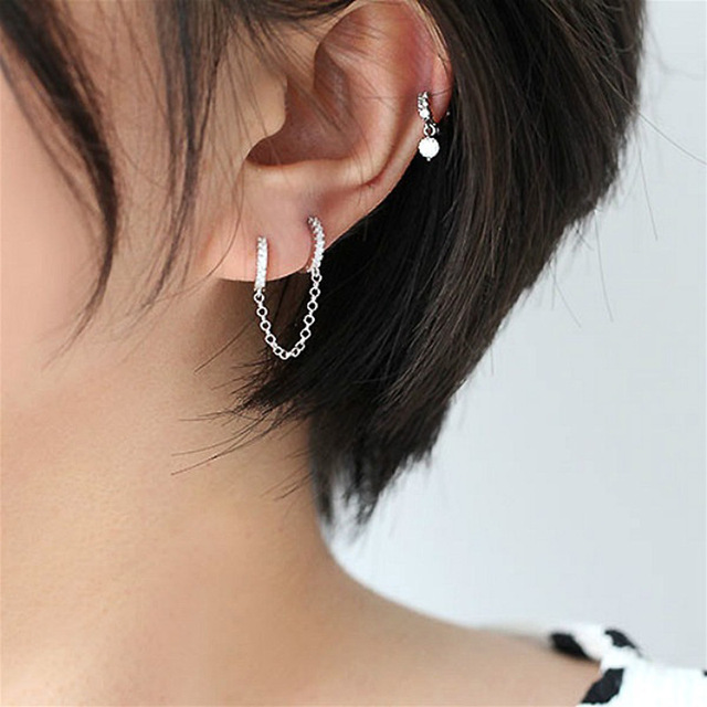 2021 venda quente dois furos piercing brincos para mulher brilhante cristal zircon 3 metal cor corrente brinco festa jóias 4