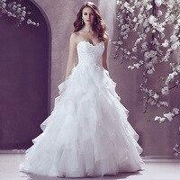 Royal luxury diamond lace bra wedding dress new arrive A line Sleeveless lace up back Sweep Train Bridal Wedding Dress