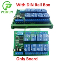 For Modbus RTU DC 12V 10A 8 Channel CH DIN Rail RS485 Relay Module Board with DIN Rail Box for PLC PTZ Camera Motor LED UM72 image