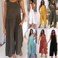 2019 Summer New Womens Solid Backless Jumpsuit Long Pants Party Elegant Office Ladies Rompers Casual Loose Female Vest Jumpsuit