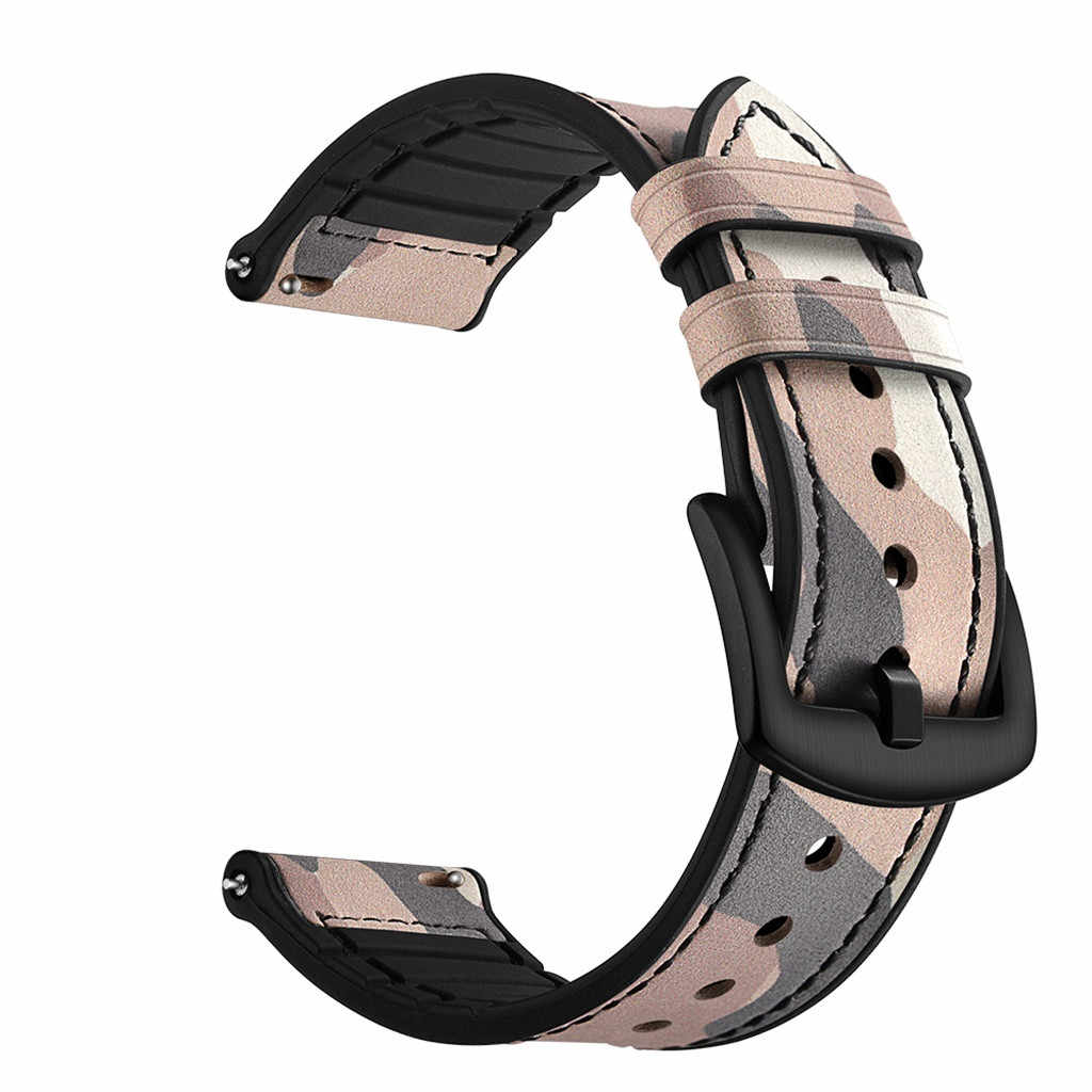 Camouflage Texture Watch Band Suit For AMAZFIT GTR Smart Watch 47MM Leather Fine Line Wrist Strap Smart Wear Accessories