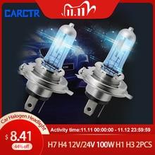 CARCTR H7 Halogen Lamp H4 12V/24V 100W H1 H3 Halogen Bulb Far and Near Fog Lights Super Bright Truck Car Headlight Fog Lamp 2PCS