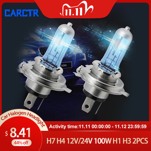 Image 1 - Carctr H7 ハロゲンランプH4 12v/24v 100 ワットH1 H3 ハロゲン電球遠近曇ライト超高輝度トラック車のヘッドライトフォグランプ 2 個