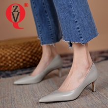 ZVQ Woman Pumps Heels Spring New Style Pointed Toe Genuine Leather Solid color Comfortable office ladies Good Qualtiy Shoes