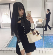 Hollow lace temperament lolita dress sexy black bowknot gothic dress kawaii girl victorian dress cosplay gothic lolita loli op