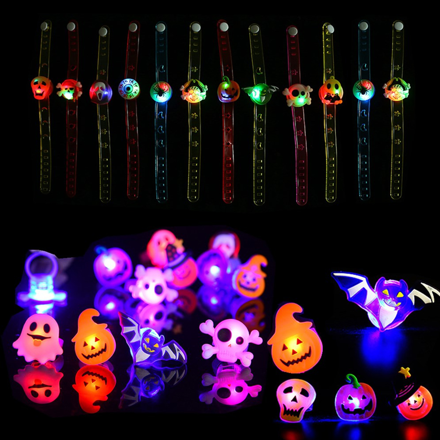 Peacock Light Up Finger Ring LED Glow In Dark Stick Rings Party Toys Gift Hot