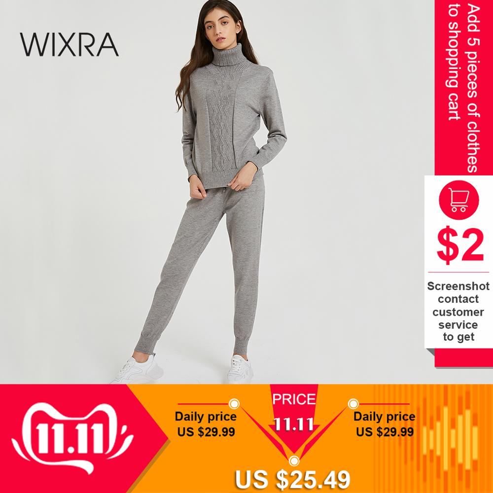 Wixra Women's Sweater Sets Turtleneck Long Sleeve Jumper Tops+Long Knit Trousers Solid Sets For Ladies Autumn Winter