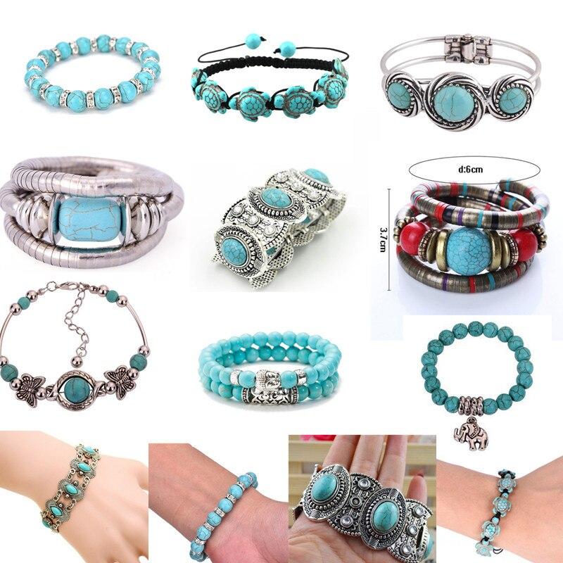Fashion Women Turquoises Wrap Bracelet Southwestern Style Mens Beaded Bracelets Tibetan Silver Clasp Gift For Him Boho Jewelry