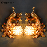 Vintage Gold Peacock Wall Lamp European Crystal Sconce Wall Lights for Home Art Decor Bedroom Bathroom Living Room Decoration