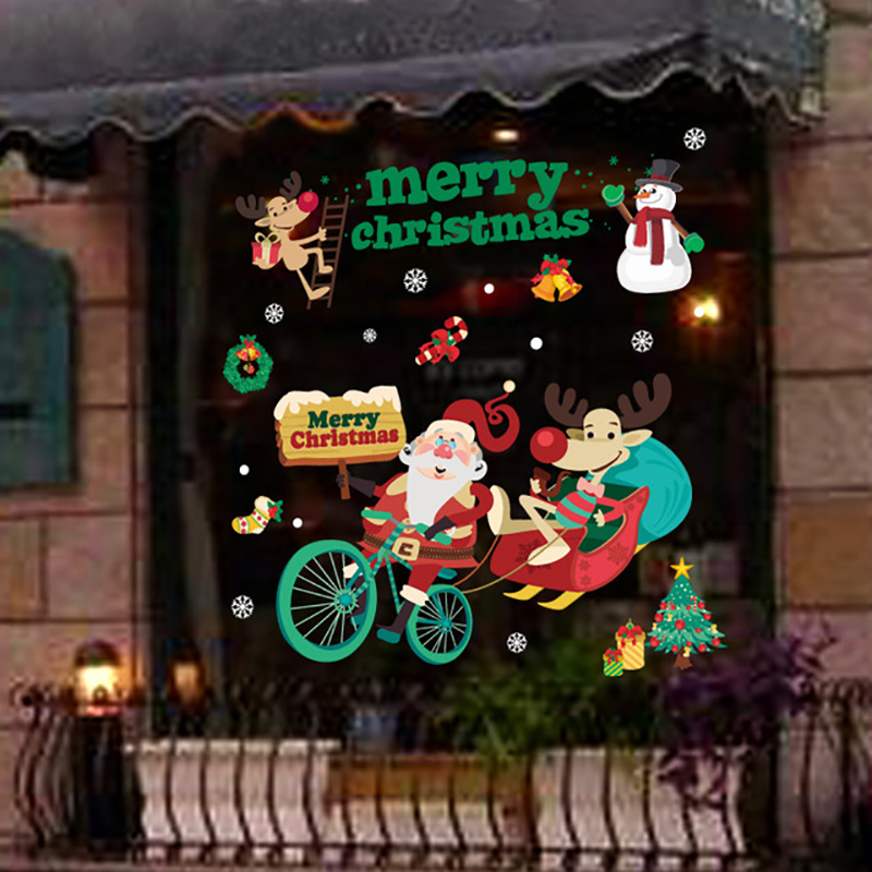 2020 Merry Christmas Window stickers Christmas decorations for home wall Glass Stickers New Year Home Decals Decor natal Noel 5