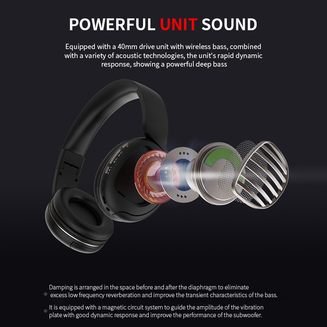 Wireless Bluetooth 5.0 Noise Cancelling Headphone Stereo -Foldable -Gaming Headset  5