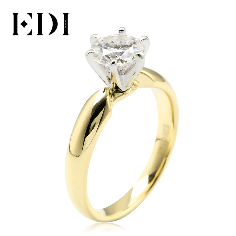 Us 4617 19 Offedi 1ct Dvvs Runde Cut Moissanite Diamant Solitaire Hochzeit Ring Für Frauen 14k 585 Gelb Gold Weiß Gold Engagement Ring In Ringe