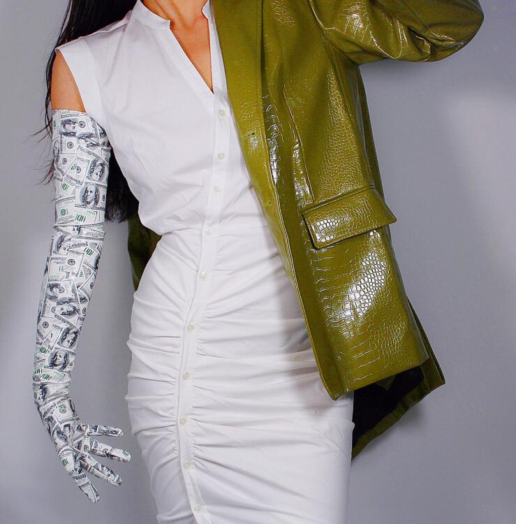 Women's Runway Fashion Sexy Slim Faux Pu Leather Glove Lady's Club Performance Dollar Print Long Glove 70cm R2782
