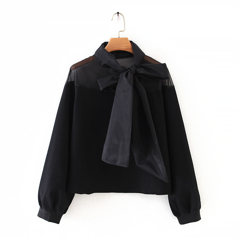 2019 Women Elegant Bow Tied Organza Patchwork Casual Black Sweatershirts Ladies Autumn Basic Long Sleeve Hoodies Chic Tops H095