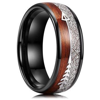 Moda Vintage Wood Grain pierścień ze strzałą klasyczne mężczyźni 8mm pierścień ze stali nierdzewnej ślub zaręczyny akcesoria biżuteria dla mężczyzn prezent tanie i dobre opinie FDLK STAINLESS STEEL Metal Brak Rejestrator aktywności fizycznej Poprawiające nastrój Archiwalne Zgodna ze wszystkimi
