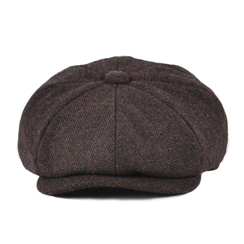 BOTVELA Newsboy Cap For Men Women Wool Blend Tweed Herringbone 8 Panel Apple Caps Cabbies Hat Woolen Headpiece Beret Hats 005
