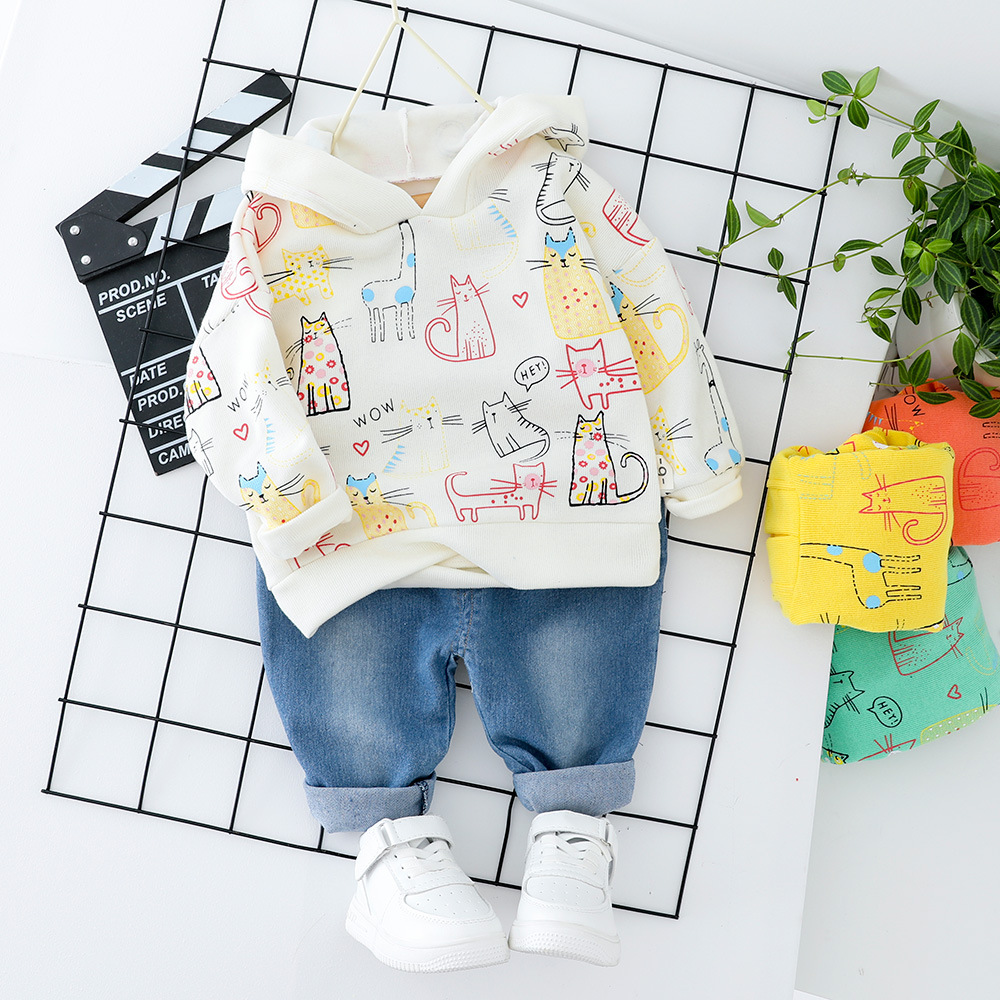 Toddler Girls Clothes Boys Clothing Hooded Top + Jeans Fashion Cut Kids Cat Children Clothes Suit Printed Orange