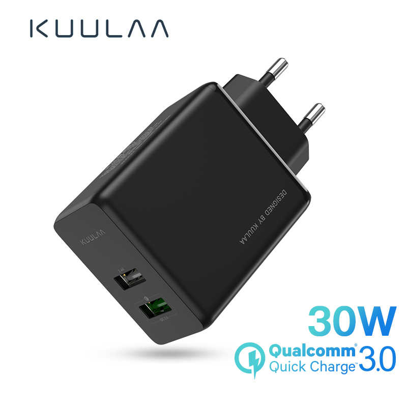 KUULAA Quick Charge 4.0 3.0 USB Charger 30W QC3.0 PD 3.0 Fast Charging 2 USB Plug Mobile Phone Charger For iPhone Samsung Xiaomi