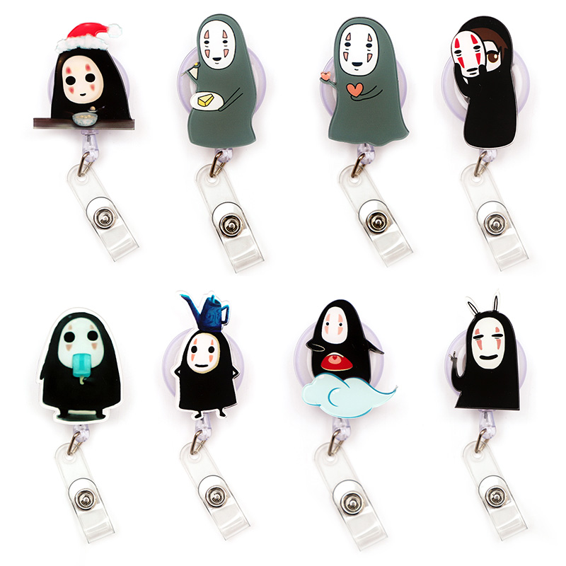 Japan Cartoon Black Man Clown Retractable Creative Card Holder Badge Reel Nurse Exhibition Enfermera Girl Name Card Chest Boy