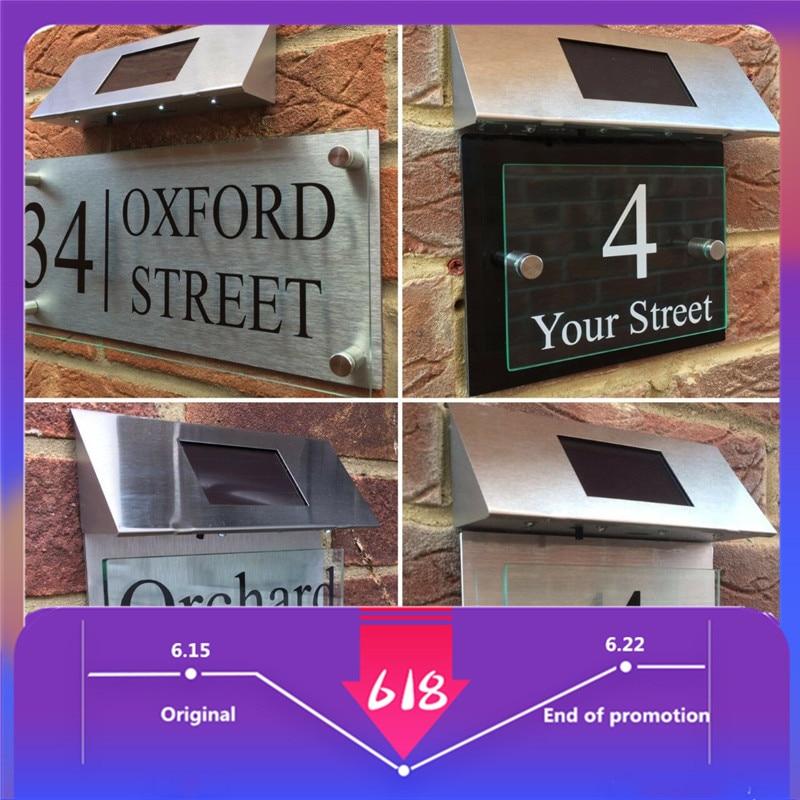 Подгоняемый современный знак на дом, табличка, номер двери, уличное стекло, алюминиевый эффект, светодиодный солнечный номер, наклейки, адресный номер для дома|Дверные таблички|   | АлиЭкспресс