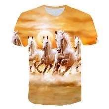 Novo verão t camisa dos homens streetwear em torno do pescoço manga curta camisetas topos engraçado animal roupas masculinas corrida casual cavalo impressão 3d tshirt