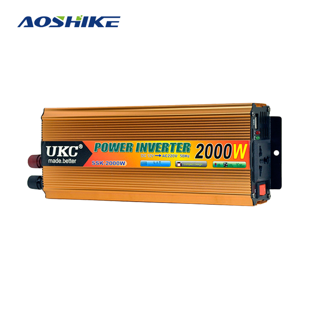 AOSHIKE Car Power Inverter Converter Peak Power 1000W 2000W Inversor 12 220 DC 12V to AC 220V Modified Sine Wave Power with USB image