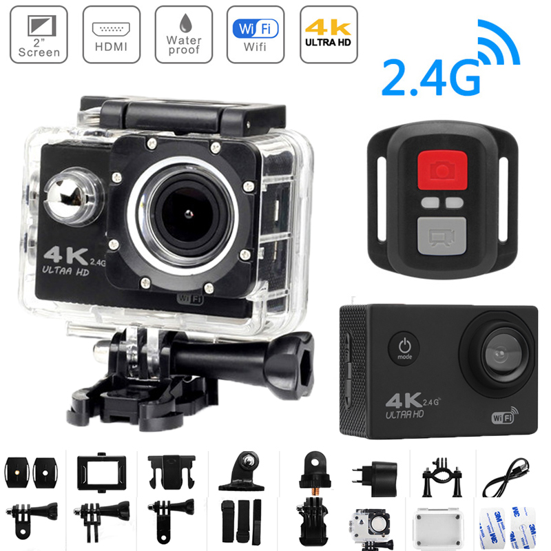 4K Ultra HD Action Camera Cam Wifi Remote Control 12MP Digital Camera 170 Wide Angle Waterproof Underwater 30M DV Sports Camera