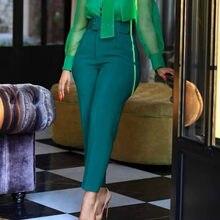 Женские брюки с высокой талией и поясом, элегантные офисные женские брюки, элегантные модные брюки для работы, большие размеры, новинка в аф...