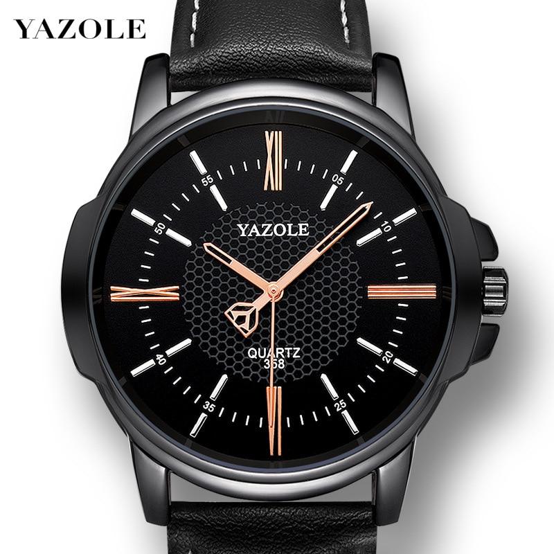 YAZOLE Mens Quartz Watch Relogio Masculino Luxury New Leather Relojes Dress Male Clock Business Men's Wristwatch Montre Homme