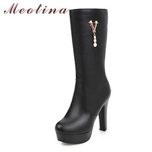 Купить с кэшбэком Meotina Winter Mid Calf  Boots Women Pearl Platform Thick Heels Boots Zipper Extreme High Heel Shoes Female Autumn Plus Size 43