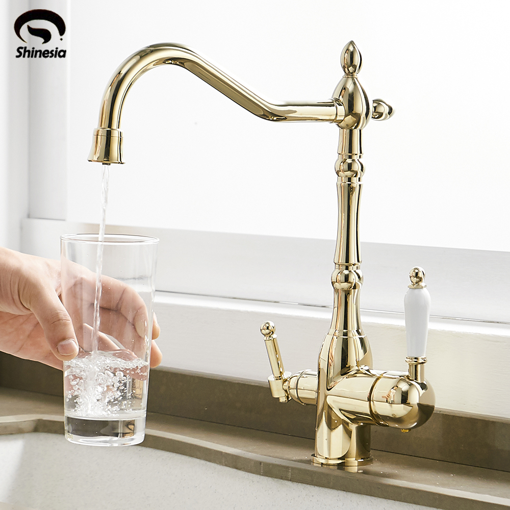 Water Filter Faucet Kitchen Faucets Dual Handle Filter Faucet Mixer 360 Degree rotation Pure Water Purification