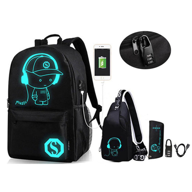 Anime Luminous Oxford School Backpack Daypack Shoulder Under 15.6 inch with USB Charging Port and Lock School Bag for Boys Girls
