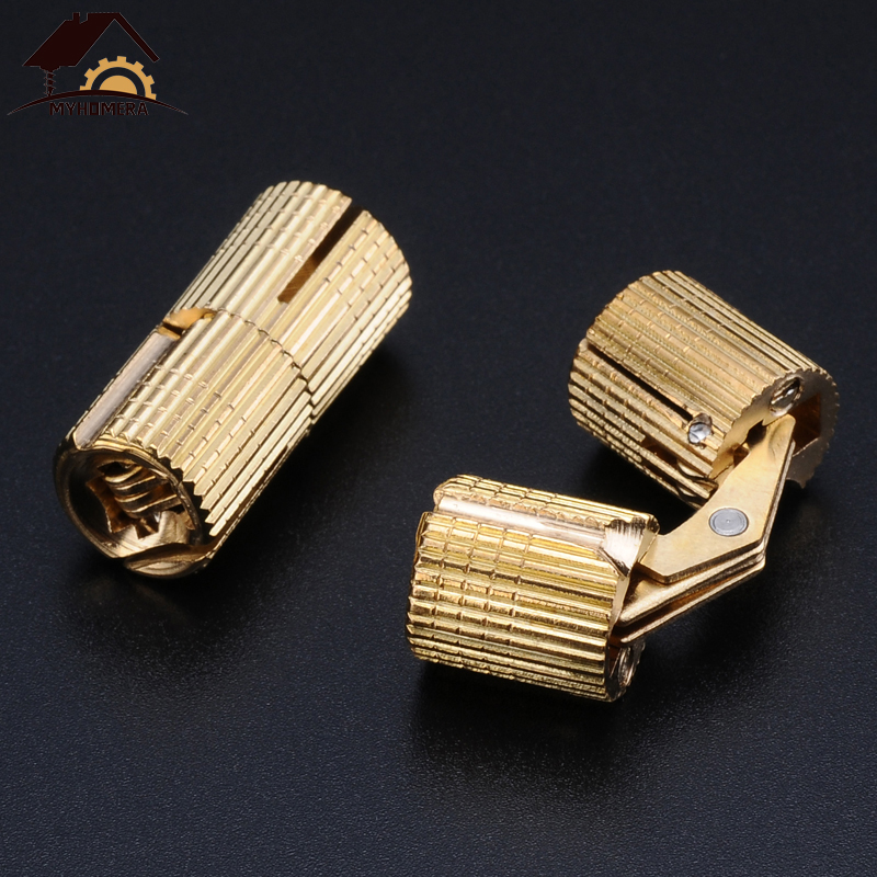 Myhomera Pure Copper Barrel Hinges Cylindrical Hidden Concealed Cabinet Invisible Brass Hinge Gift Box Mount Furniture Hardware