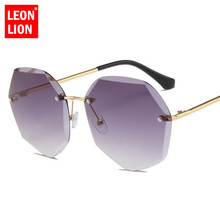 LeonLion Large Frame Round Sunglasses Women Rimless