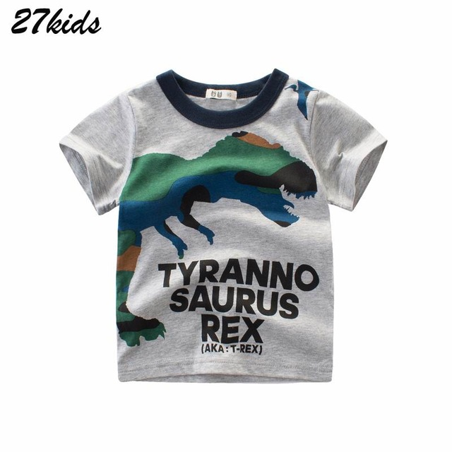 27kids Summer Dinosaur Children Boy Girl Shirts Buy3get2% Cotton Baby Kids Clothing For Baby Shirts Summer 2019 Top Tee Clothes