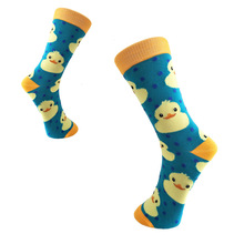 Colorful Men's Combed Cotton Crew Casual Dress Socks Funny Cartoon Animal Duck Pattern Crazy Skateboard Socks For Wedding Gifts casual colorful men s crew party socks crazy cotton happy funny skateboard socks novelty male dress wedding socks gifts for men