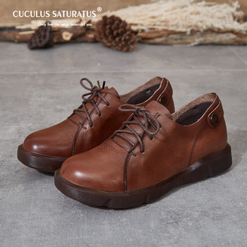 Cuculus Four seasons women flats shoes platform sneakers Ladies genuine leather casual shoes slip on flat heels creepers