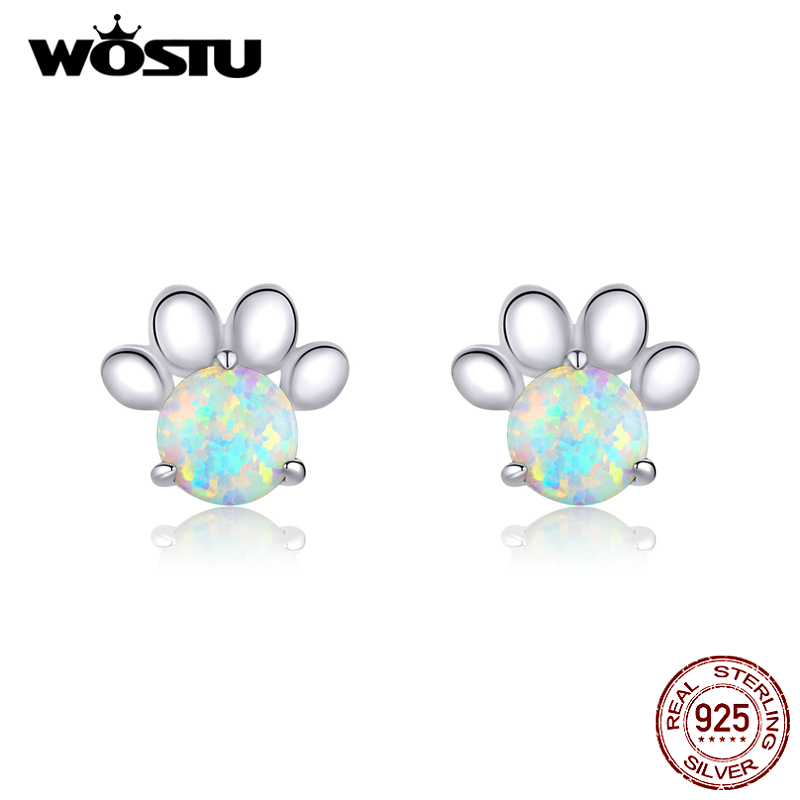 WOSTU Dog Footprint Shiny Opal Stud Earrings 925 Sterling Silver Moonstone Small Earrings For Women Fashion Party Jewelry CTE346