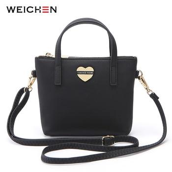 цена на WEICHEN Heart Summer Handbag Soft Leather Small Shoulder Bag For Women Brand Female  Crossbody Messenger Bags Ladies Tote Bolsa